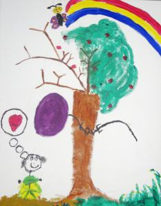 Josie is Erik's sister. She was aged eight at the time she drew this wonderful picture and sent her love to the barren side of the tree.