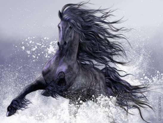 fantasy horse black in the ocean waves