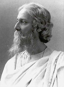 "Rabindranath Thakur (anglicised as ""Tagore"")1915, the year he was knighted by George V. Tagore repudiated his knighthood, in protest against the Jallianwala Bagh massacre in 1919"