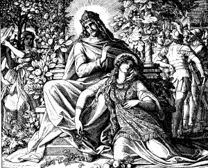 Depiction of Solomon and Pharaoh's daughter reciting the Song of Solomon.
