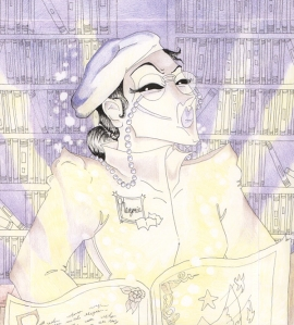 Marjorie Reading Latin in the Library from the book of Dragon and the Elder Futhorc